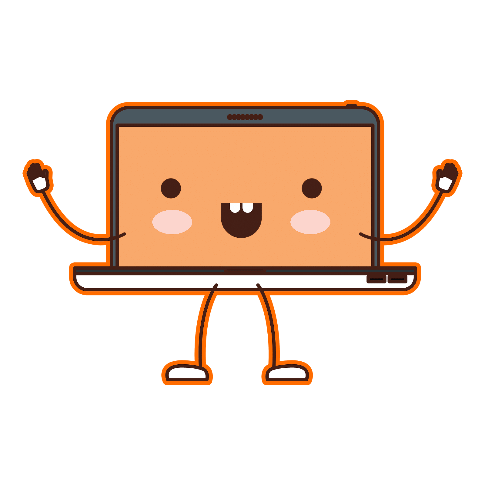 Cute Cartoon Laptop with smiley face